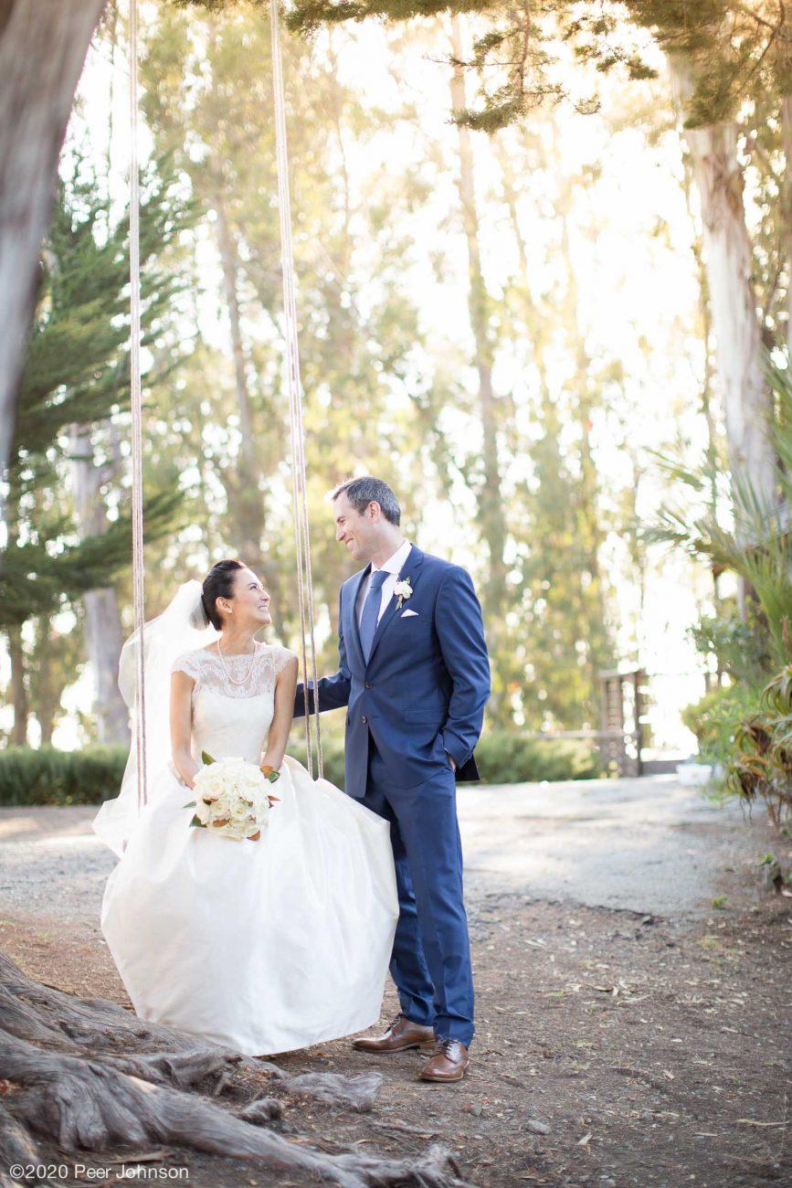 A bride & groom at Point 16 Big Sur.